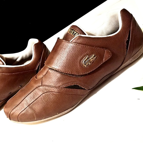 99aa62ae93d4c Lacoste Other - Lacoste brown leather velcro sport trainers 11.5
